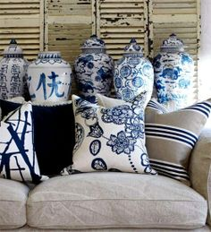 Great looking blue and white...love the pillows with these fabulous ginger jars! Love!