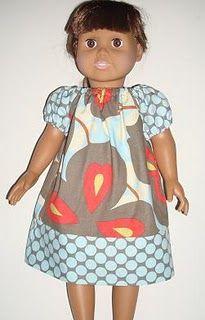 dress patterns, sew, doll cloth, girl doll, doll dresses, doll pattern, doll idea, peasant dress, american girls