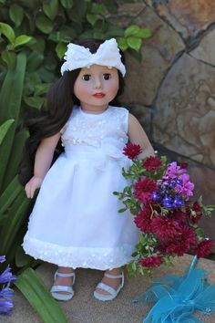 Melody Rose & Flower Girl Dress. Available at www.harmonyclubdolls.com Wedding Flower Girl Dress fits American Girl