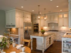 desk areas, country kitchens, cottage kitchens, garden, granite countertops, cottage style, white cabinets, island, white kitchens