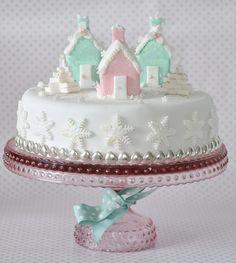 iced houses Christmas cake