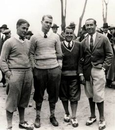 """20's mens fashion Sports Influence. Much of men's clothing in the 1920s took its cue from what popular athletes were wearing. The plus-fours, plus-sixes and plus-eights of course, were worn by golf stars such as Bobby Jones and Walter Hagen, who topped them with colorful Fair Isle sweaters (multi-colored, multi-pattern sweater styles that originated in Scotland). """"Plus"""" pants are categorized by how far the pants fell below the knee before being secured around the leg area. As tennis grew in popularity, the white trousers and V-neck sweaters the players wore informed much of what young men wore around town."""