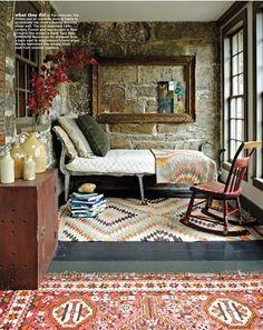 sleeping porch, empty frames, stone walls, nook, bedrooms, guest rooms, stones, rugs, sunroom