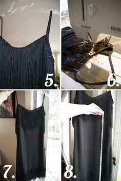 DIY flapper dress for a vintage 1920s party costume.