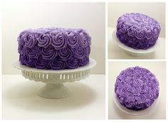Ombre rosette in graduating shades of purple.    (Chocolate cake decorated and filled with french vanilla buttercream.)