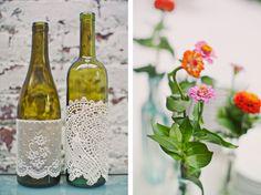 wine bottle doilies- nice wines, lace, idea, tabletop decor, wine glass, orange flowers, wine bottles, mason jars, hipster wedding