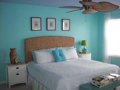 Beach Themed Bedroom. Love the Fan.