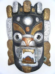 Antique Wooden Mask Vintage Old Rare Tribal Mixed Metal Demon Mask #1591