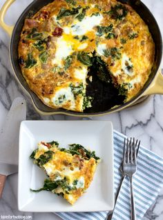 Turkey, Kale, Onion, and Sundried Tomato Frittata via tablefortwoblog.com #glutenfree