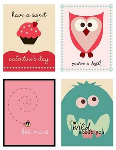 Several free printables for Valentine's Day