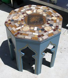 This beautiful mosaic side table was made using an old thrift store find and mosaic tiles from The Home Depot #tile