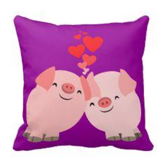 Cute Cartoon Pigs in Love Pillow #pillow #pigs #love #cheerfulmadness #cute #kawaii #valentine #home #decor