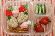 school lunch lunchbox  strawberry cucumber treats fruit