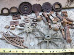 Rusty Nuts Bolts Nails Lids Washers  Industrial by HighDesertRust, $12.00 #assemblage #rusty #supplies #industrialsalvage #salvage #crafting