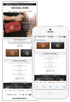 This holiday email from Michael Kors encouraged recipients to stop by their local stores by listing out nearby locations and phone numbers. When opened on mobile, recipients could click to call each store location directly from the email, or click to view the location in the Google Maps app. #emailmarketing #retail #geotargeting #mobile