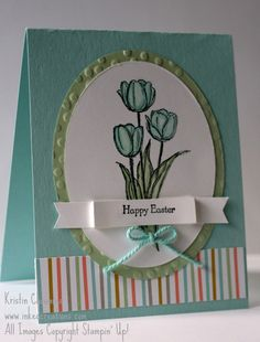 Happy Easter card using the Blessed Easter single stamp set.  Sweet Sorbet Designer Series Paper and Accessory pack.