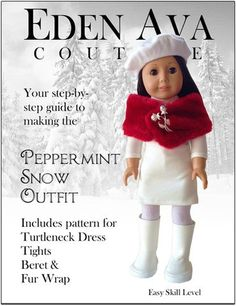 Peppermint Snow Pattern! sewing toys, girl doll, doll clothes, peppermint snow, holiday outfits, doll pattern, eden ava, american girls, sewing patterns