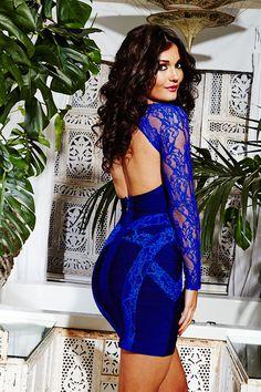 Clothing : Bandage Dresses : India Cobalt Blue Lace Bandage Dress