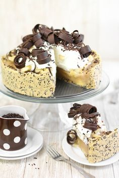 Sprinkle Bakes: DEEP DISH BANOFFEE PIE - fresh banana and toffee filling in a graham cracker crumb crust studded with chocolate sprinkles and topped with whipped cream and chocolate curls.