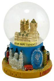 London Houses of Parliament, Big Ben, London Eye souvenir snow globe