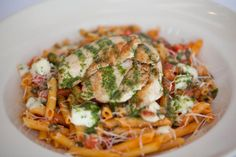 Tomato Basil #Pasta: Grilled chicken, fresh mozzarella, a touch of garlic and penne pasta. Delish!