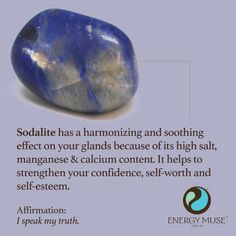 Sodalite has a harmonizing and soothing effect on your glands because of its high salt, manganese and calcium content. It helps to strengthen your confidence, self-worth and self-esteem. #sodalite #healing #crystals
