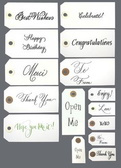 Calligraphy tags for favors