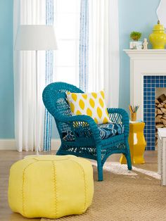 decor, living rooms, pouf, color combos, color schemes, chairs, blue, wicker furniture, bright colors