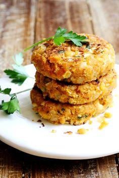 Chickpea Onion Patties (Non-Deep-Fried Falafels) use gf bread crumbs