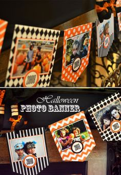 DIY Halloween photo banner to display all your favorite photos from past years