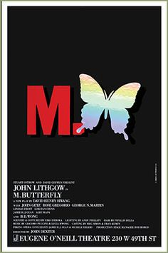 Theater poster for M. Butterfly by David Henry Hwang, Tony Winner Best Play 1988