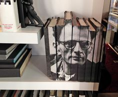 DIY Book spine cover: Fill a bookshelf wall with portraits, as seen at The Wit hotel