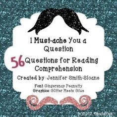 Must-ache You a Question Reading Comprehension Task Cards from 4mulaFun on TeachersNotebook.com -  (17 pages)  - Must-ache You A Question- Set of 56 Reading Comprehension Task Cards $3