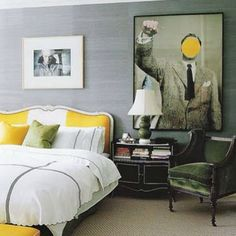 Gorgeous gray and yellow interior, perfect balance of masculine an feminine