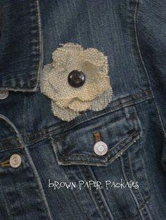 burlap flowers button flowers, burlap flowers, flower pins, brown paper packages, hair pieces, blue jean, burlap bows, flower tutorial, accessories