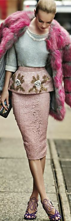 Unique pink street style and faux fur! (Elle Italia December 2013️)
