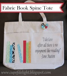 Cup of Delight: Fabric Book Spine Tote (No Sew!) {Delightfully Creative}