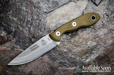 """Scandi Trekker a brand NEW knife from TOPS. O/A Length: 7 5/8"""" Blade Length: 3 5/8"""" Thickness: 1/8"""" Steel: 1095 High Carbon Steel Handle: Green Canvas Micarta Blade Color: Tumble Finish Weight: 3.7 oz"""