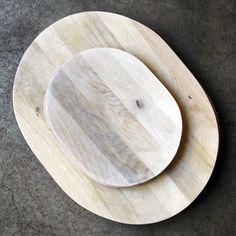 Image of white mango wood platter - large
