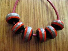 Glass Lampwork Beads Black Red and Silver by marjoramhotglass, $14.50
