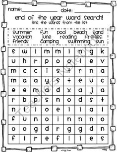 FREE End-of-the-Year Word Search from Kindergarten Kristy on TeachersNotebook.com -  (1 page)  - Let your student have some fun at the end of the school year with this end of the year word search. How many words can they find on their own? Words in this word search go horizontal, vertical, and backwards! Have fun!