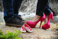 Baby girl gender reveal photo! I like any reason to buy new shoes :) gender reveal photo, gender reveal shoes, shoe pregnancy announcement, heel, pink shoes, new shoes