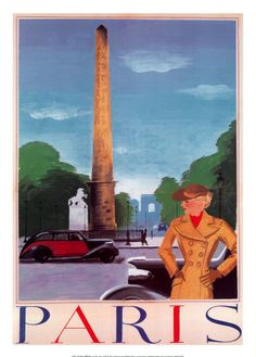 Vintage tourism and travel poster of #Paris