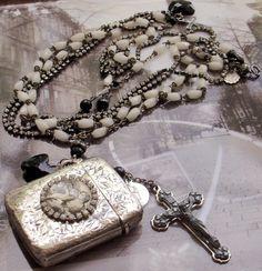 Summer sale....I'm Your Fire Antique Sterling Silver Vesta Matchsafe Vintage Rosary Necklace
