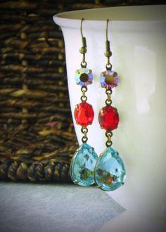 Aqua and Ruby Red Long Dangle Earrings Rhinestone by RewElliott