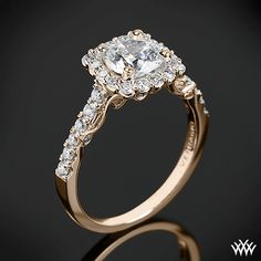 18k Rose Gold Verragio Cushion Halo Diamond Engagement Ring from the Verragio Insignia Collection.