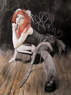 Autographed painting of Emilie Autumn by EnterTheFreakshow on Etsy, $300.00