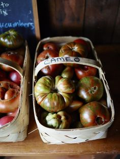Baskets of heirloom tomatoes at Blackberry Farm