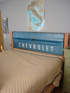 Tailgate headboard, perfect for a little boys room.  #tailgate #headboard #bed #bedroom #chevy #chevrolet #truck #diy #kids #boy #child