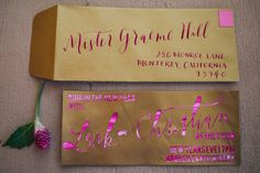 gold and pink wedding invitation, photo by Lisa Mallory Photography http://ruffledblog.com/glam-new-years-inspiration #weddinginvitations #stationery